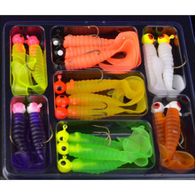 Drop Shipping Summer 17Pcs Soft Worm Lure Lure Set  Head Jig Hooks Fishing Baits Set Tackle 18# стоимость