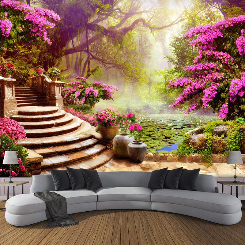 Custom 3D Photo Wallpaper Garden Forest Landscape Large Murals European Style Living Room Sofa Bedroom Wall Art Mural Wall Paper custom photo wallpaper 3d wall murals balloon shell seagull wallpapers landscape murals wall paper for living room 3d wall mural