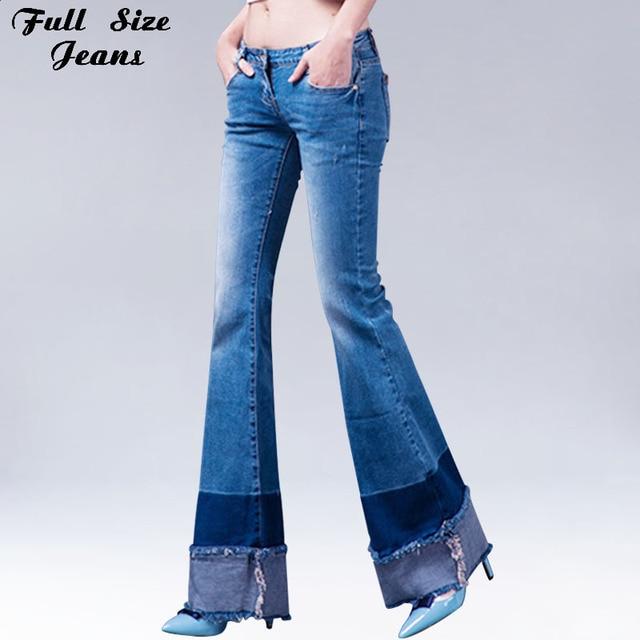 3e9be9baf Patchworked Flare Jeans Slim Stretch pantalones largos con pierna ancha  azul Denim Jeans bota corta Vaqueros