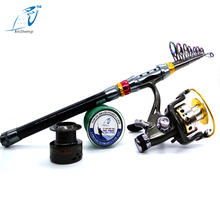 Buy online 2017 Anzhenji Carbon Rod Combo Telescopic Pole Sea Fishing Rod with Line Reel Saltwater Freshwater Peche Rod Kit