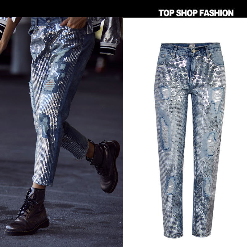 TREND Setter 2018 Spring Fashion Sequins Ripped Jeans Women Hole Denim Ankle Length Pants Streetwear Autumn