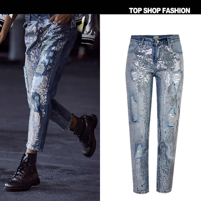 f0535673fd1 TREND-Setter 2018 Spring Fashion Sequins Ripped Jeans Women Hole Denim  Ankle-Length Pants