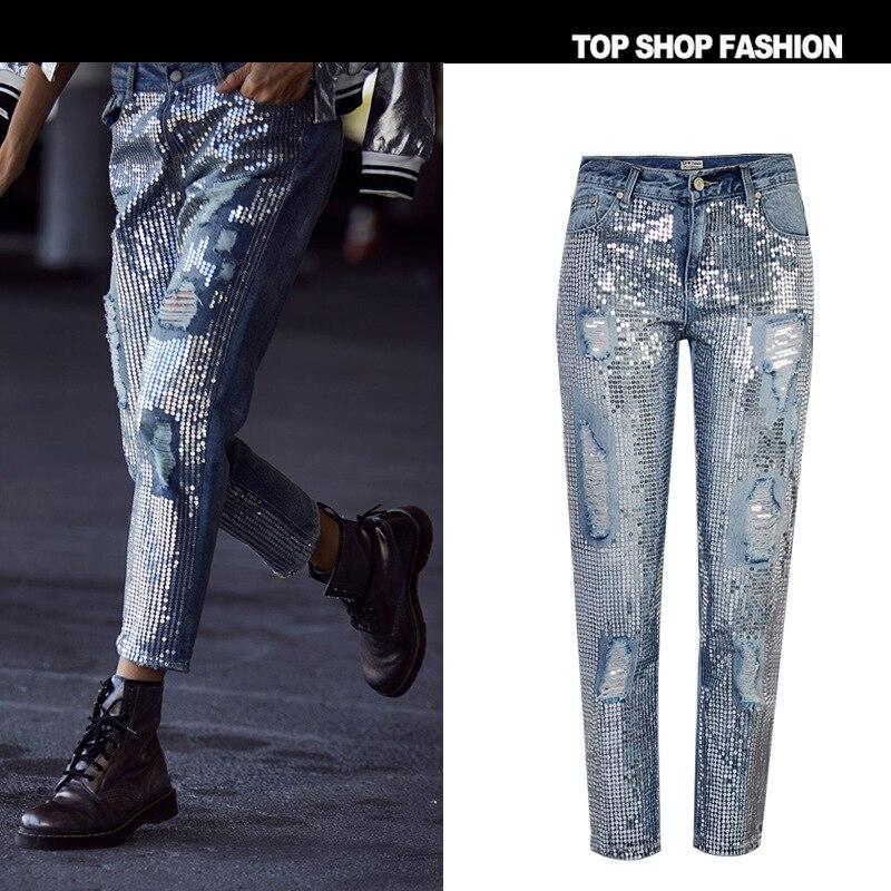 TENDANCE-Setter 2018 Printemps Mode Paillettes Déchiré Jeans Femmes Trou Denim Cheville-Longueur Pantalon Streetwear Automne Pantalon Femmes