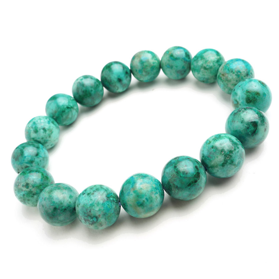 12mm Natural Genuine Green Malachite Chrysocolla Finished Bracelets For Women Loose Stretch Charm Crystal Round Beads Bracelets natural green phantom crystal 10mm semi everlast crystal beads diy bracelets 40 cm string