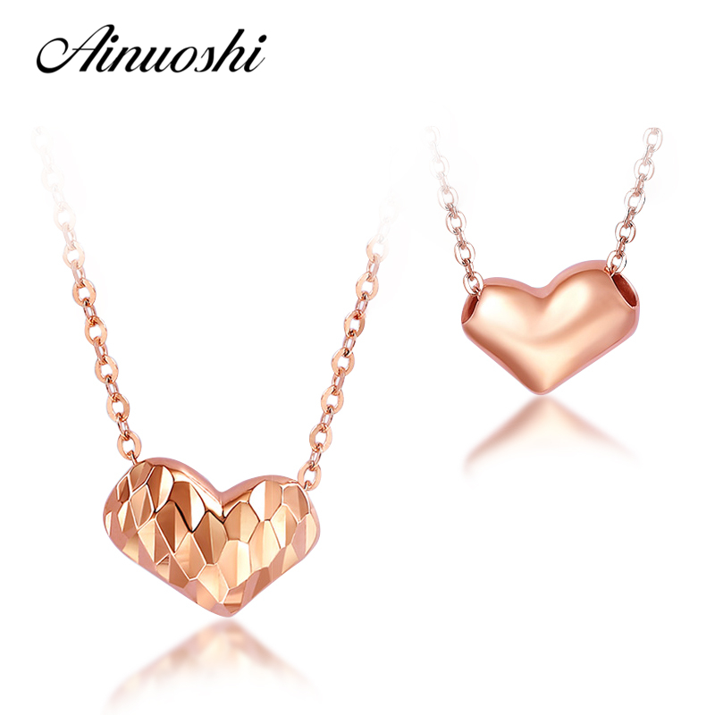 AINUOSHI Luxury 18K Rose Gold Double Sides Hearts Shaped Women Necklace Pendants 18 Inches Lady Lover Pendants Christmas Gifts цена