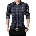 Новая Осень Мода М-5XL Бренд Мужской Одежды Slim Fit Мужчины Длинные рукава Рубашки Мужчины Плед Хлопок Повседневная Мужчины Рубашка Социальный Нормальный Размер