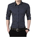 New Autumn Fashion M-5XL Brand Men Clothes Slim Fit Men Long Sleeve Shirt Men Plaid Cotton Casual Men Shirt Social Normal Size