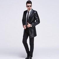 Высокое качество Для мужчин Кожаная куртка Для мужчин пальто бренда Для мужчин кожа Курточка бомбер Пиджаки для женщин VESTE Cuir Homme длинные ко...