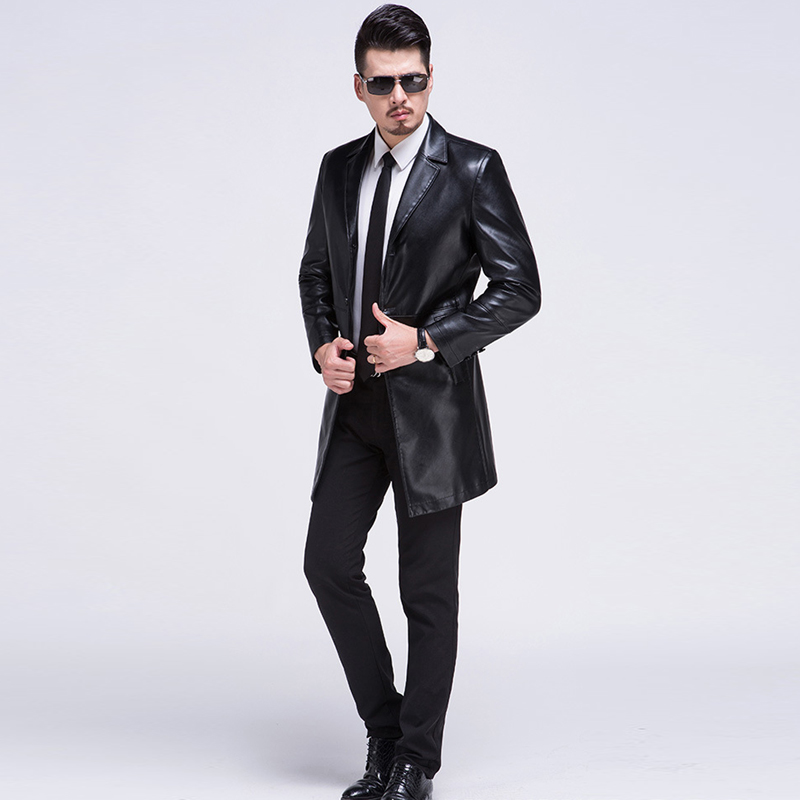 High Quality Mens Leather Jacket Men Coat Brand Men Leather Bomber Jacket Blazers Veste Cuir Homme Long Leather Coat Mens C548