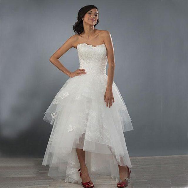 Hi Lo Wedding Gowns: Sexy Short Beach Wedding Dresses 2017 Hi Lo Ivory Lace