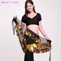 Wholesale Belly Dance Clothes Chiffon Big Sequins Belly Dance Hip Scarf For Women Belly Dance Chain