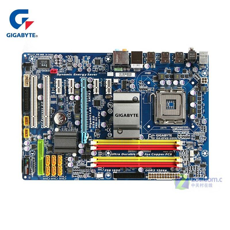 Gigabyt GA-EP45-UD3L EP45-DS3L placa madre LGA 775 DDR2 escritorio Mainboard 16 GB EP45-UD3L P45 utilizado 5 PCI-E minería ranuras