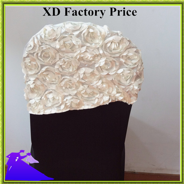 Ivory colour embroider rosette satin chair sash wedding decoration chair covers hood lycra band fit all chairs wholesale