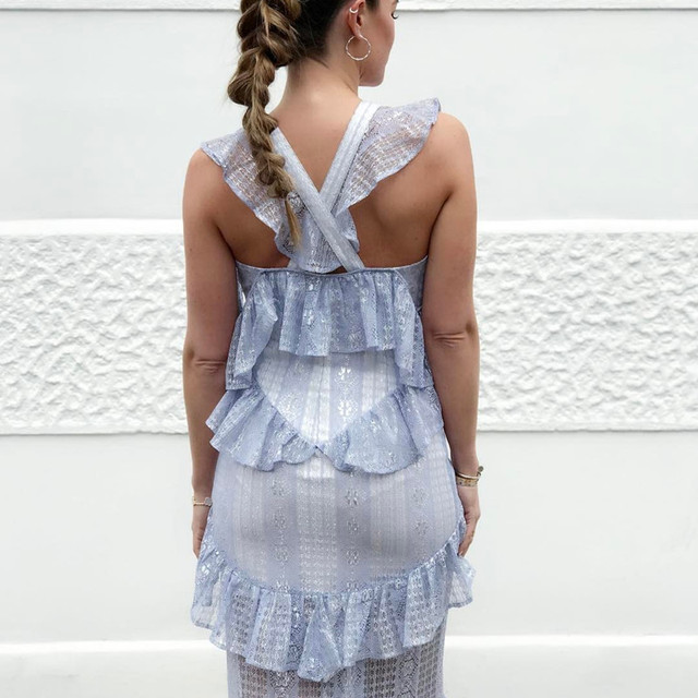 Spaghetti Strap V-neck Ruffle Mermaid Long Dress