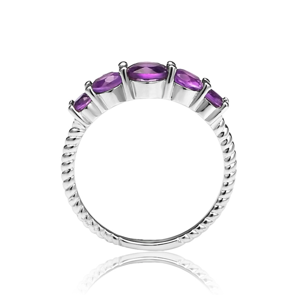 Image 5 - GEMS BALLET Classic 1.28ct Round Natural Amethyst Rope Band Stackable Ring For Women Wedding 925 Sterling Silver Fine JewelryRings   -