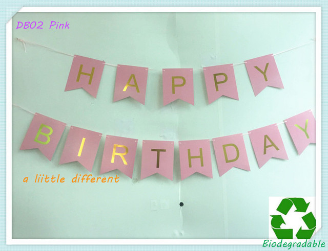 size 12x15cm pink backdrop gold foiled letter happy birthday banner for gilrs ladies birthday