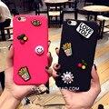 Corea del sur ama beso parche sonrisas para iphone 7 plus 6 s caja del teléfono móvil creatividad modelos femeninos de la marea