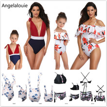 цены на 2019New Summer Family Matching Outfits Printing piece double lotus leaf Parent-Child Swimwear Mother and Daughter Swimsuit в интернет-магазинах