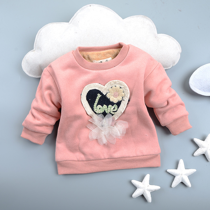 73-95cm Autumn Winter Cartoon Love Heart Baby Kids Sweater for Boy Girl Pullover Cotton Long Sleeve Pink White Blue autumn new cartoon elephant printed long sleeve children sweater boy girl pullover top shirts sweatshirt clothing