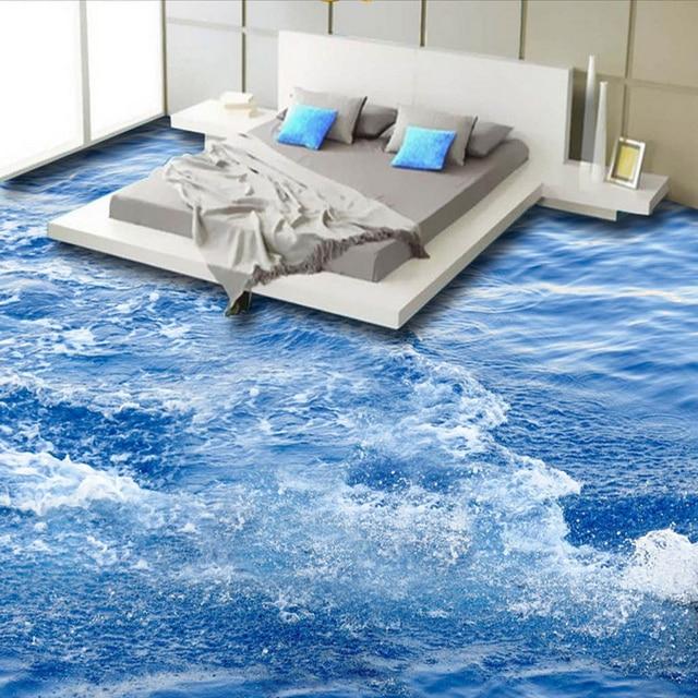 Beautiful Modern Simple Sea Wave 3D Floor Tiles Murals Wallpaper Living Room Bathroom  PVC Self Adhesive Waterproof