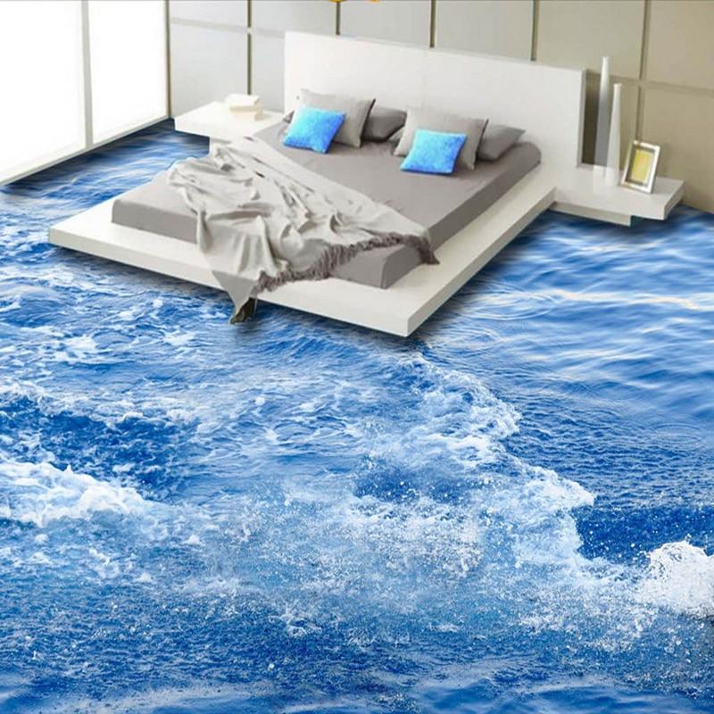Moderna semplice onda del mare 3d pavimento di piastrelle for Carta da parati moderna per soggiorno