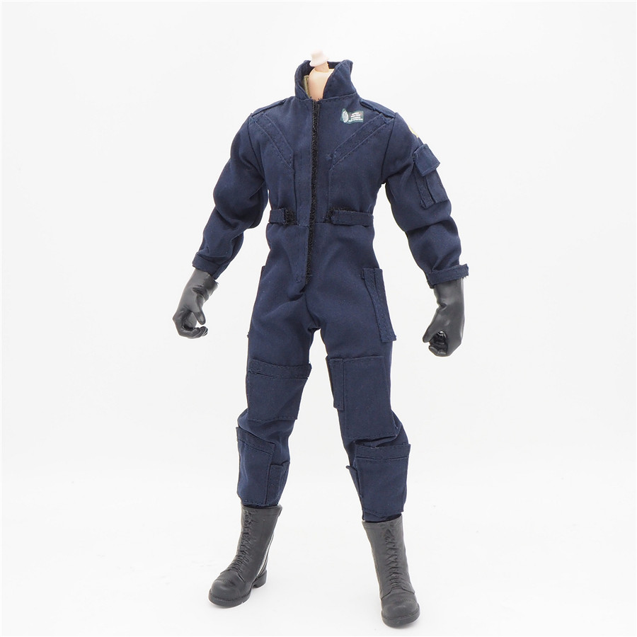 1/6 Scale Coverall Uniforms Jacket Accessories Navy Jumpsuit For 12 Male Military Action Figure Body Female Clothes image