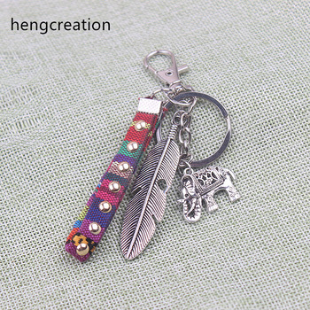 hengcreation tribal ethnic keychain unique bohemia gift key holder tassel jewelry feather elephant car keychain for women
