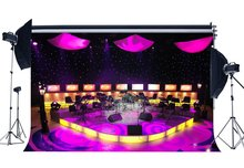 Band Concert Backdrops Luxurious Stage Show Backdrop Bokeh Shining Stage Lights Lantern Interior Photography Background