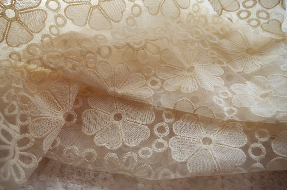 cream Organza Lace Fabric, Embroidered Lace Fabric, Birdal Dress Scollaped Lace Fabric by the yard5yards