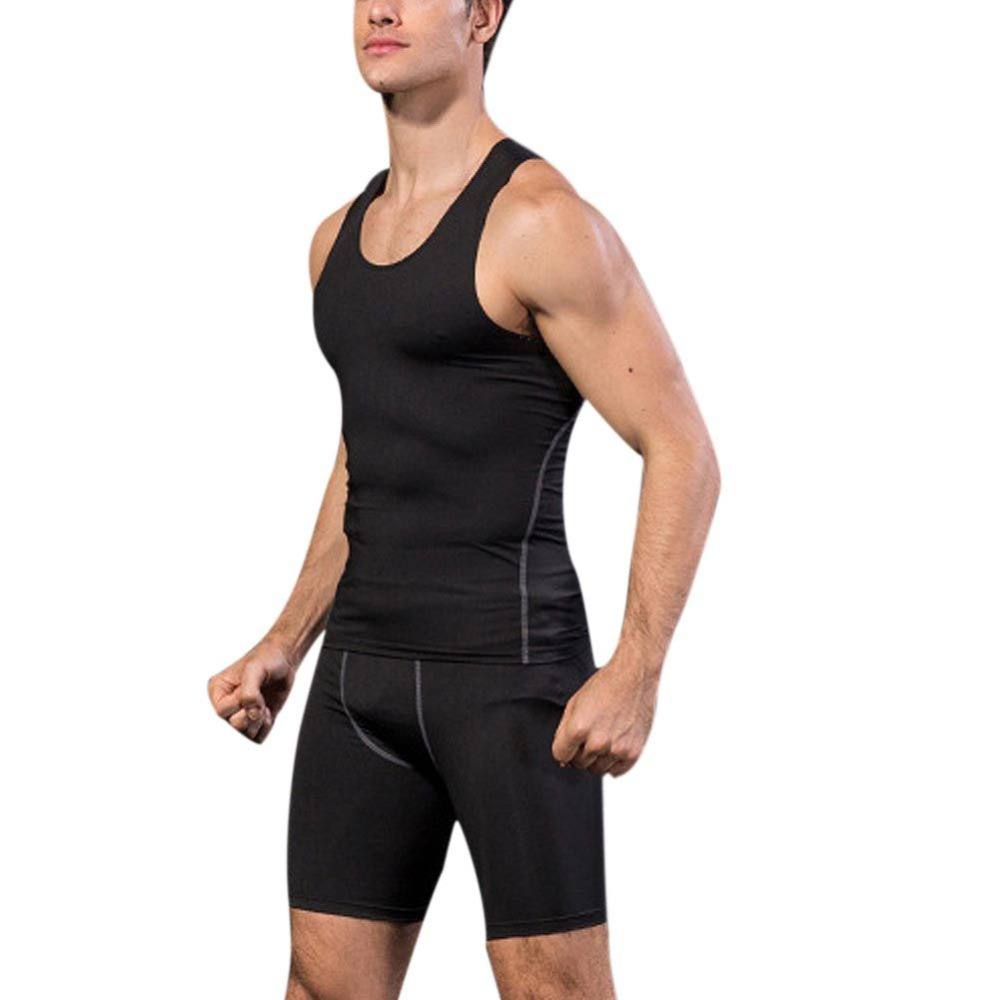 Summer New Quick Dry Men's Compression Tights   Tank     Top   Men Fitness Sleeveless Vest Men Clothes