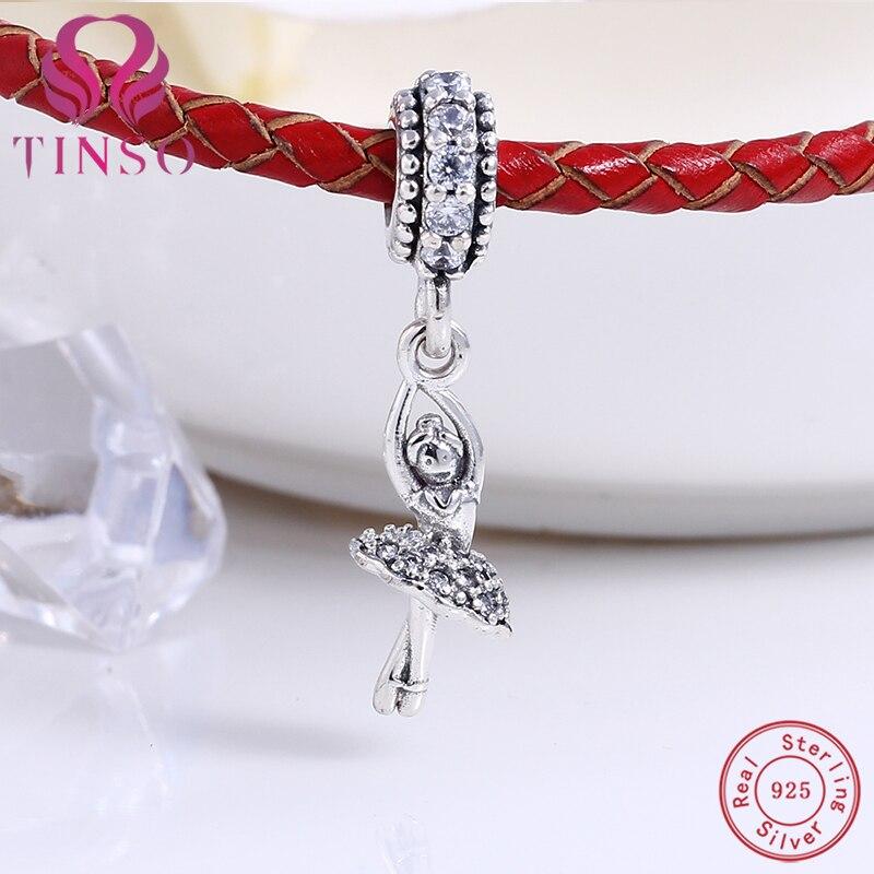 c1eff6772522ca Nuova Autentica 100% 925 Sterling Silver ragazza di Balletto Misura  Branelli Pandora Charms Bracciale Originale per Monili Che Fanno FAI DA TE  in Nuova ...