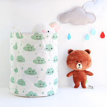 40*50cm Waterproof Cotton Linen Laundry Basket for Baby Kids Toys Organizer White Cloud Pattern Storage Bucket Bags 3Colors