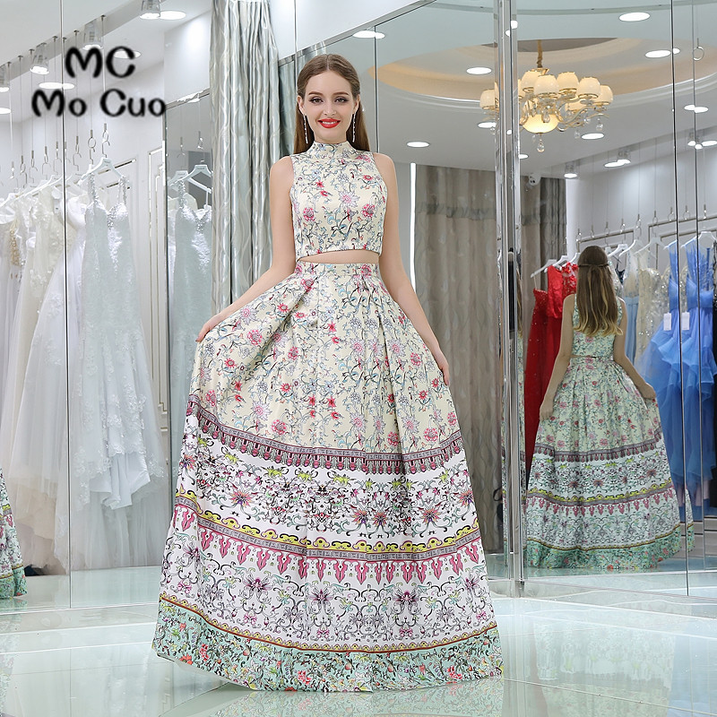 New 2017 Unique   Prom     dresses   with Print Pattern 2 Pieces Gown long graduation   dresses   Off Shoulder Zipper Evening   Prom     Dress