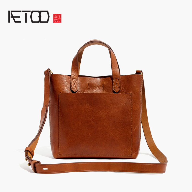 AETOO Europe and the United States fashion ladies first class cow leather retro handbag europe and the united states style first layer of leather lychee handbag fashion retro large capacity solid business travel bus