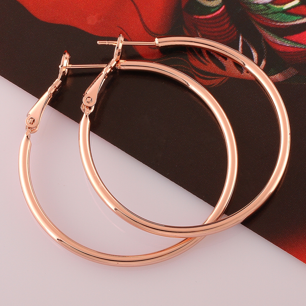 Wholesale 925 Sterling Silver Simple Big Circle Earrings! Women's Silver Circle Earrings Large Large Circle Rose 40mm