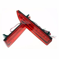 2pcs LED Red Rear Bumper Reflector Light Fog Parking Warning Brake Tail Lamp Fit For 2009