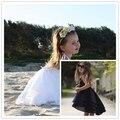 Ins * venda quente 2017 meninas do bebê algodão 4 princesa Em Camadas vestido de crianças vestidos de praia 360 graus hemline 1-7A cute & moda
