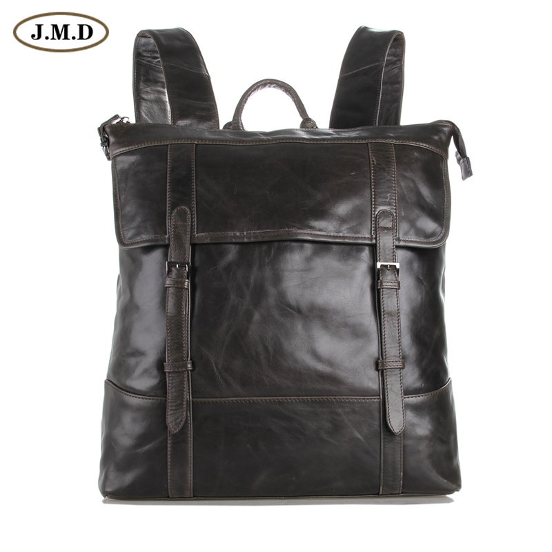 J.M.D Genuine Leather Men's Grey Shoulders Large Leather Backpacks Cross Body 7203J