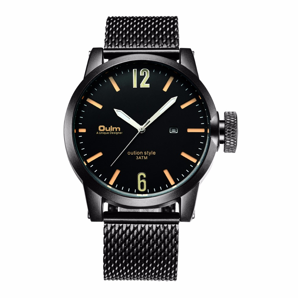 Oulm Brand Watch HP3194 Man Stainless Steel Watch with Complete Calendar Gentlement Business Watch Luxury