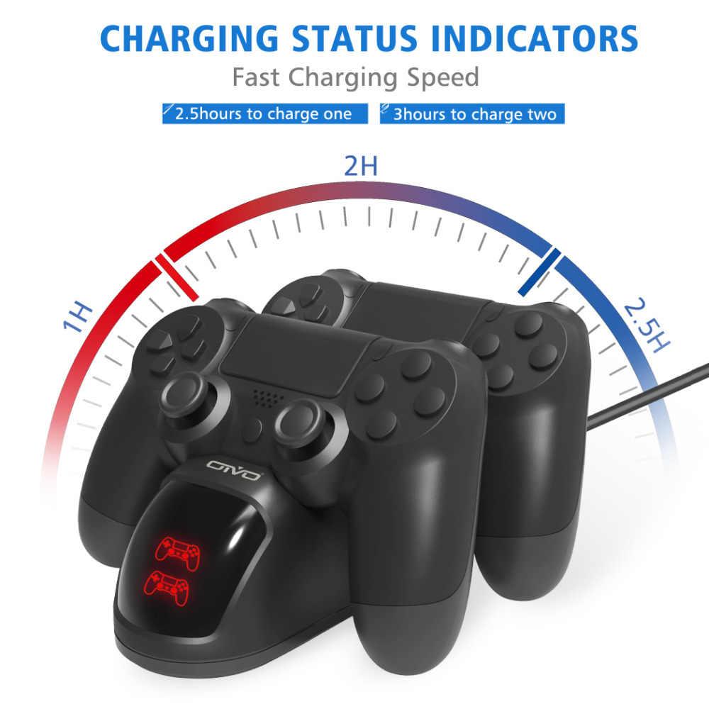 PS4 Controller Pengisian Dock Station untuk Play Station 4 Dual Charger Berdiri dengan Status Tampilan Layar untuk PS4/PS4 slim/PS4 Pro