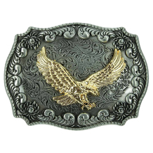 Antique Vintage Embossed Gold Eagle Animal Belt Buckle Western Cowboy Classical Men Jeans Accessories