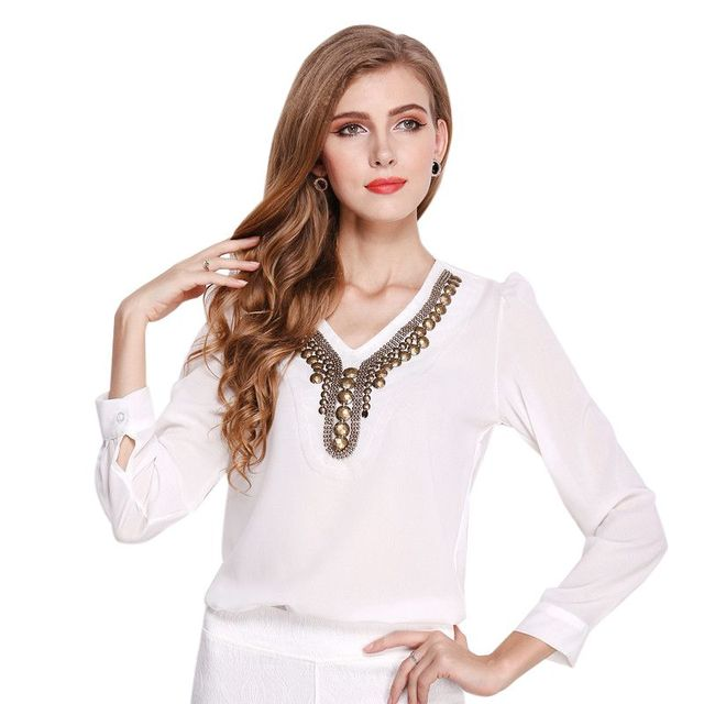8334fc30d863f Women Summer Solid Long Sleeve Shirts Retro Beading V-neck Tops Blouse  office lady Slim Blouses Blus Top