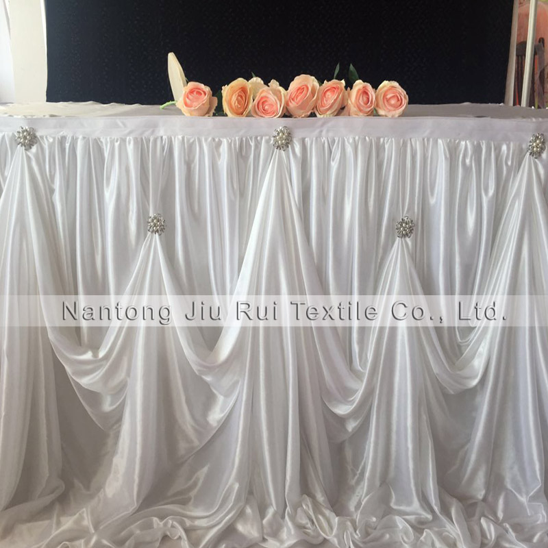 Exceptionnel 2 Piece 10ft L * 30 Inch H New Design Ice Silk Table Skirting Table Skirt  With Luxury Diamond Pearl Brooch For Wedding Decor In Table Skirts From  Home ...