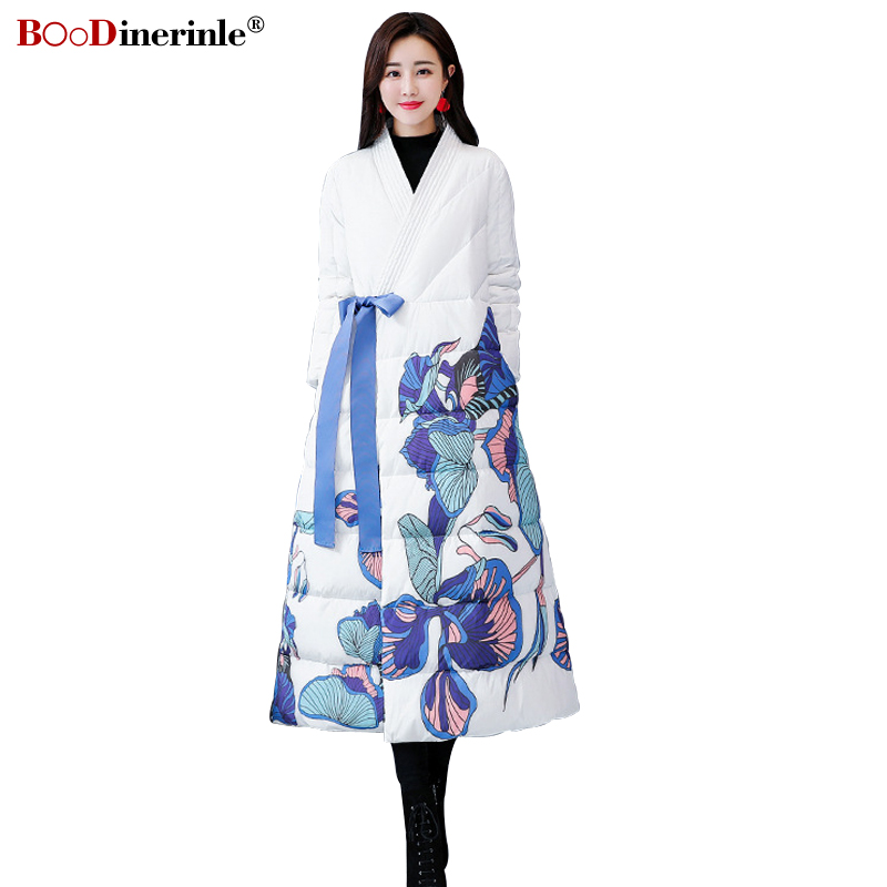 2018 Winter Women's Long Warm Cotton Coat Elegant Chinese Style Flower Printed Jacket Female Cross-closure Lace-up   Parkas   MY356