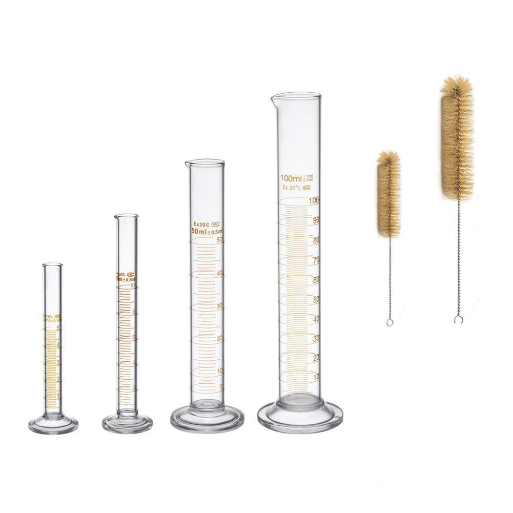 BLEL Hot Thick Glass Graduated Measuring Cylinder Set 5ml 10ml 50ml 100ml Glass With Two Brushes