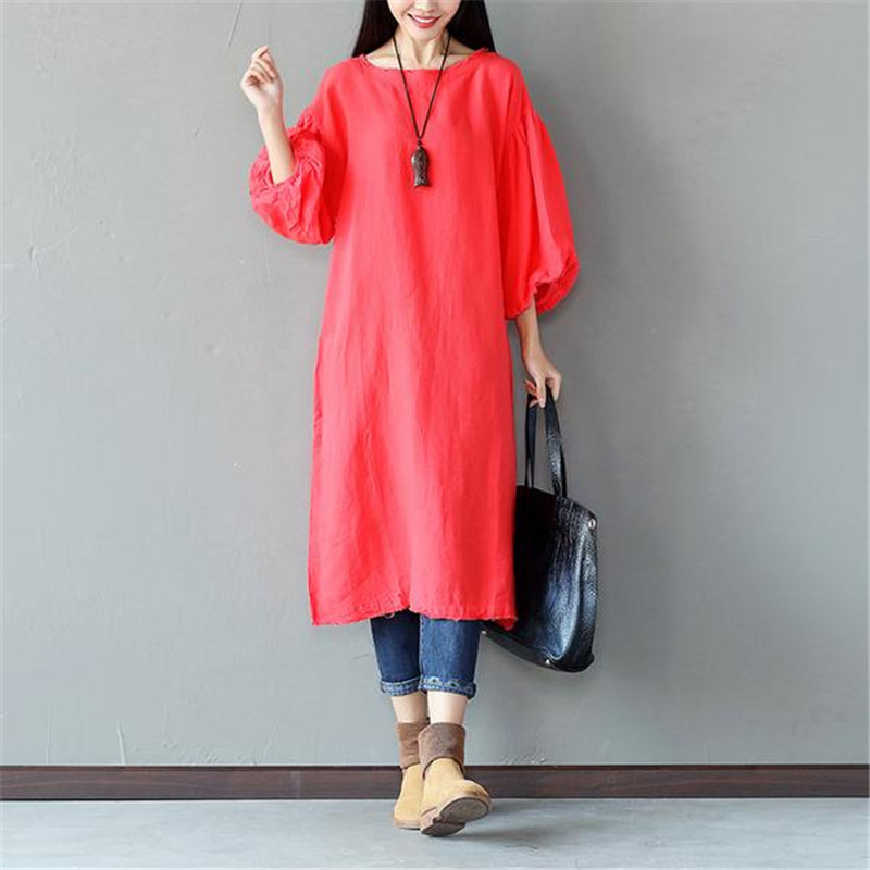 BUYKUD Women's 2018 Summer New Retro Vintage O Neck Lantern Sleeves Loose A line dress Linen and Cotton Casual Red Dress