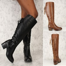 lace up back boots knee high leather boots ladies shoes woman botas female black brown square low heels vintage classic bottes