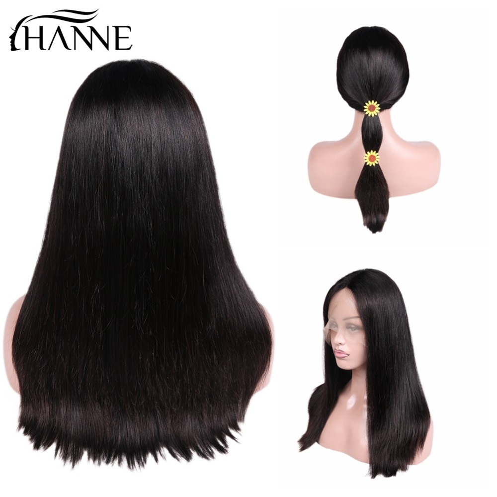 HANNE Hair Brazilian Human Hair Wigs Glueless Lace Front Remy Hair Wig Middle Part Straight Hair