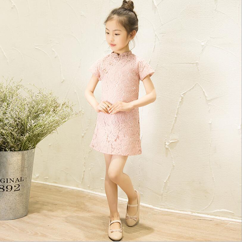 Купить с кэшбэком Floral Baby Qipao Girl Dress Chi-Pao Cheongsam Christmas Gift Chinese Kids Lace Dresses Girls clothing Wedding Princess Dress