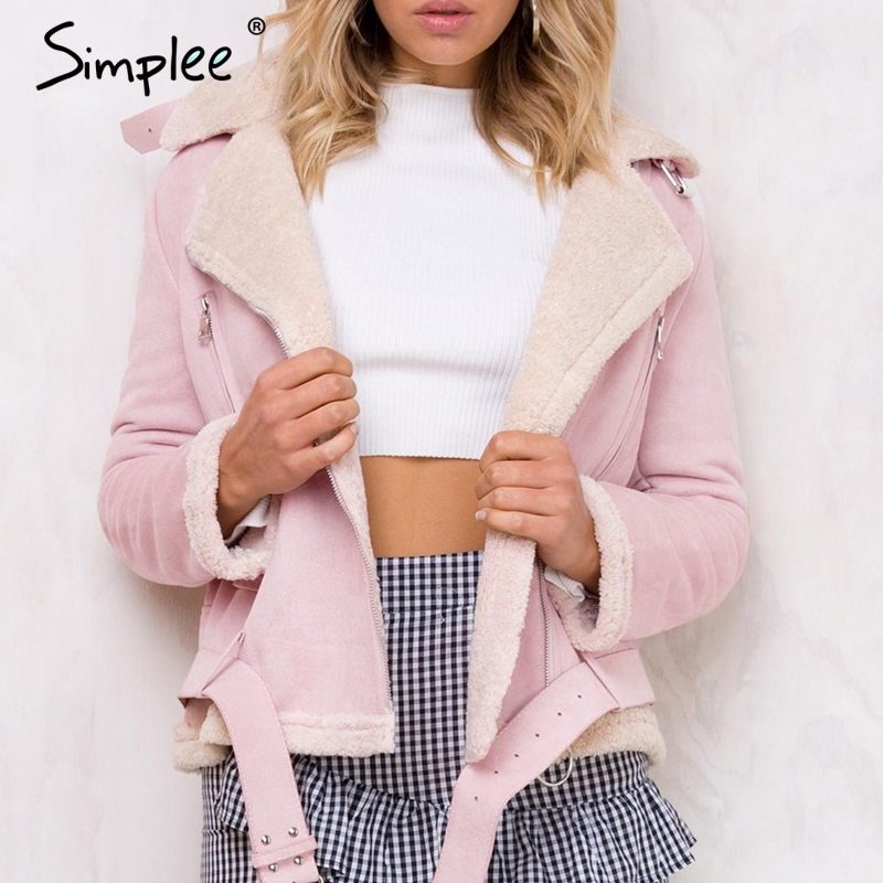 Simplee Leather suede lamb fur jacket coat women Faux suede jacket belt turn-down winter coat female Casual zipper moto overcoat